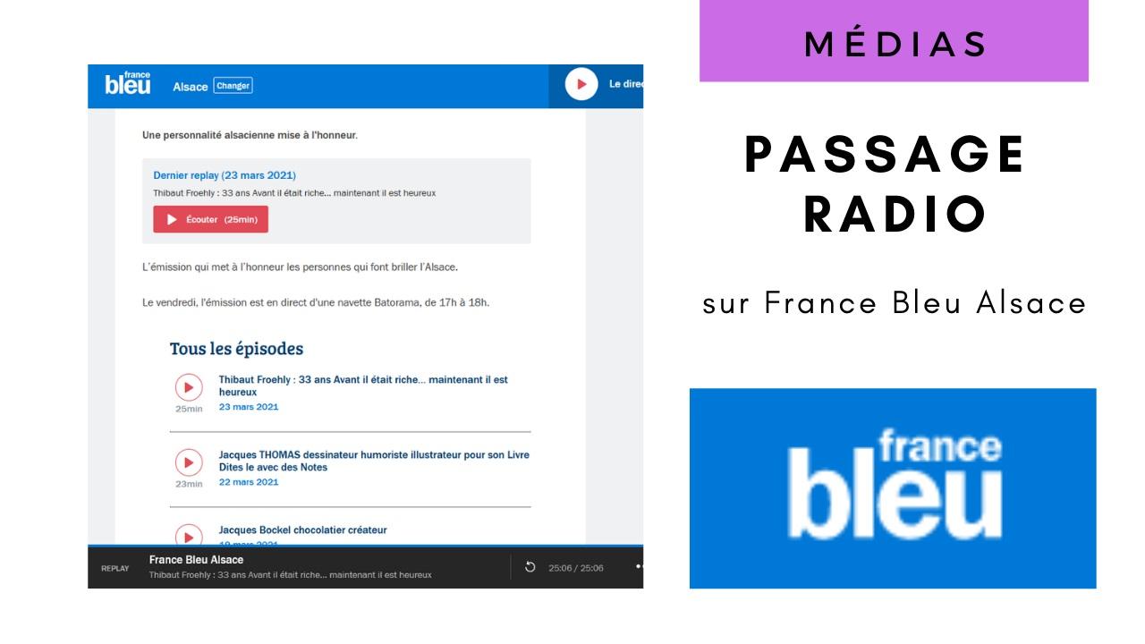 Passage radio sur France Bleu Alsace le 23 mars 2021